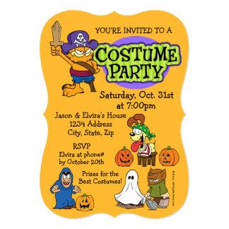 Garfield & Odie Halloween Costume Party 13 Cm X 18 Cm Invitation Card