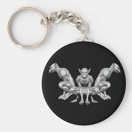 Gargoyle Basic Round Button Key Ring