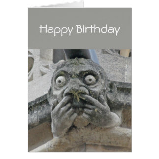 Gargoyle fingers-up-nose card