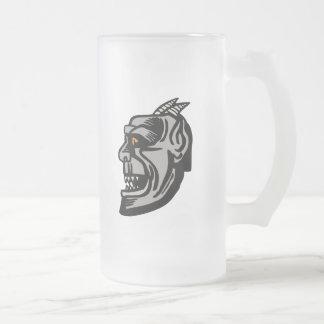gargoyle head frosted glass mug