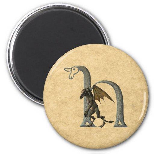Gargoyle Monogram H 6 Cm Round Magnet