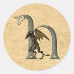 Gargoyle Monogram H Round Stickers