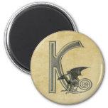 Gargoyle Monogram K 6 Cm Round Magnet