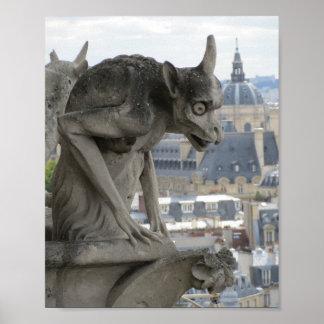 Gargoyle of notre Dame Paris Gothic photograph Poster
