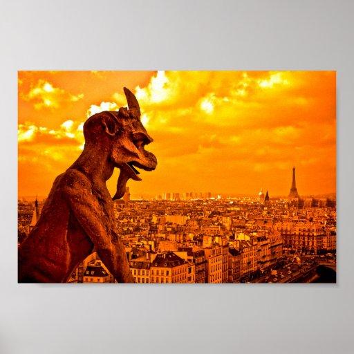 Gargoyles Over Paris 10x6 Archival Poster