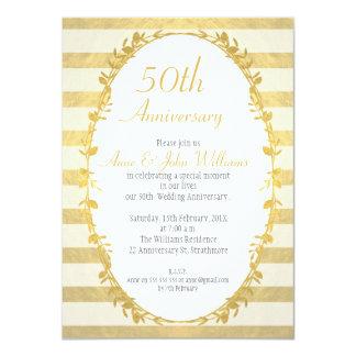 Garland Faux Gold 50th Anniversary Invitation