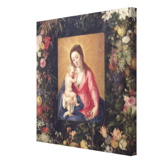 Garland of Fruit and Flowers with Virgin and Child Canvas Print