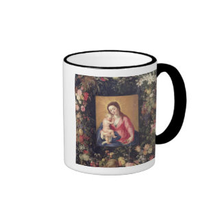 Garland of Fruit and Flowers with Virgin and Child Ringer Coffee Mug