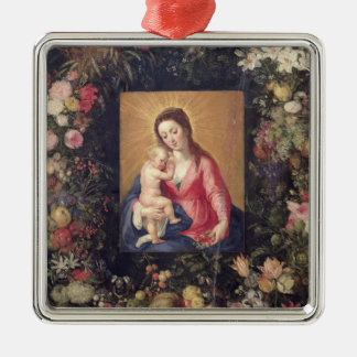Garland of Fruit and Flowers with Virgin and Child Silver-Colored Square Decoration