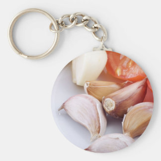 Garlic and Chili Pepper Pin Basic Round Button Key Ring