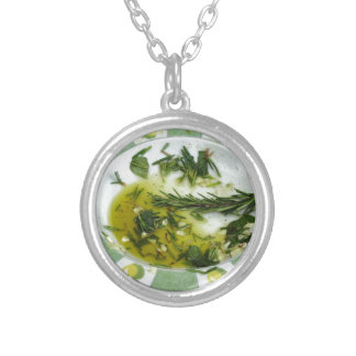 Garlic and herb infused olive oil round pendant necklace