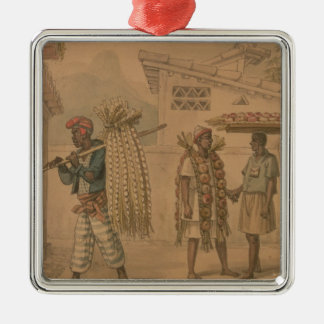 Garlic and Onion Sellers, 1826 (w/c on paper) Silver-Colored Square Decoration