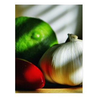 Garlic Bulbs Limes Chillies Peppers Chili Postcard