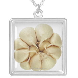 Garlic  isolated on white background, DFF image, Silver Plated Necklace
