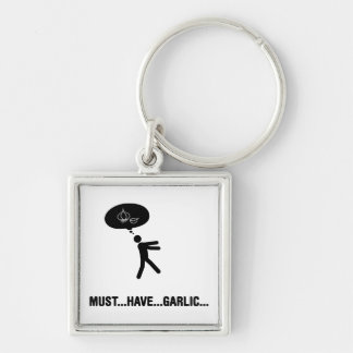 Garlic lover Silver-Colored square key ring