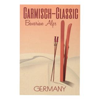 Garmisch Classic,Bavarian Alps Ski poster Wood Print