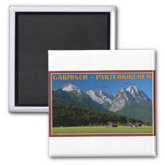 Garmisch - The Zugspitze and Alpspitze Square Magnet