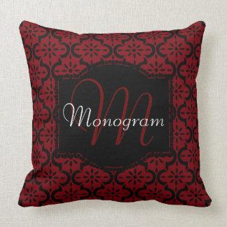 Garnet and Black with Monogram Cushion