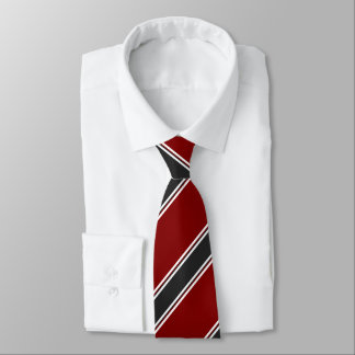 Garnet Black and White Regimental Stripe Tie