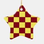 garnet/gold checkers christmas ornaments