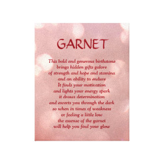 Garnet - January birthstone poem art canvas