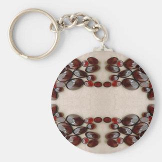 Garnet Mirror Basic Round Button Key Ring