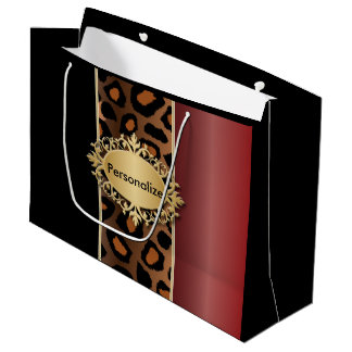 Garnet Red, Black and Jaguar Print Large Gift Bag