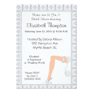 "Garter Bridal Shower Invitation 5"" X 7"" Invitation Card"