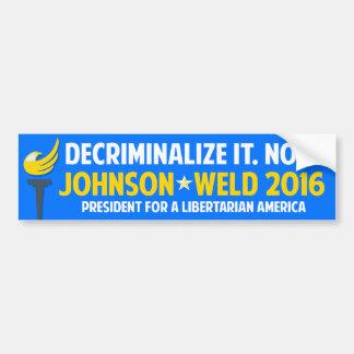 Gary Johnson 2016 Libertarian Weld Decriminalize Bumper Sticker