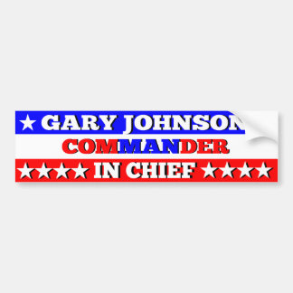 Gary Johnson Commander in Chief Bumper Sticker