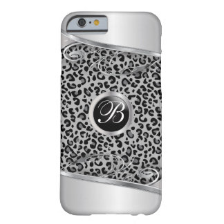 Gary Leopard and Metal Print   Monogram Barely There iPhone 6 Case