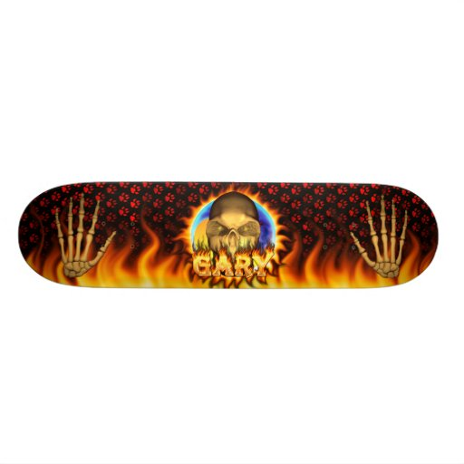Gary skull real fire and flames skateboard design.