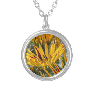 garzania gardenia flower in the garden silver plated necklace
