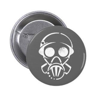 gas mask [button] 6 cm round badge