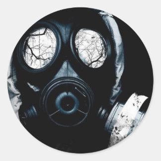 gas mask classic round sticker
