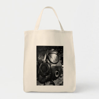 Gas mask grocery tote bag