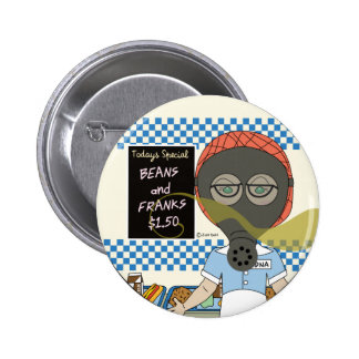 Gas Mask Lunch Lady Pinback Button