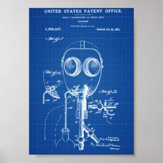 Gas Mask Patent - Blueprint Poster