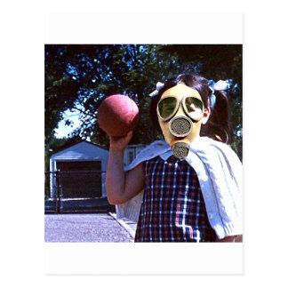 Gas mask red ball postcard