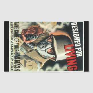 Gas Mask Rectangular Sticker