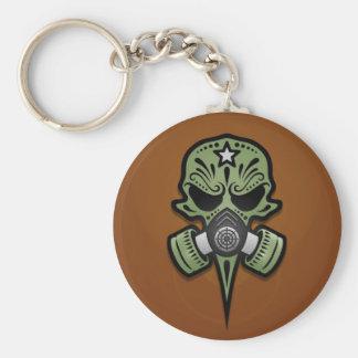 Gas Mask Sugar Skull, Green Basic Round Button Key Ring