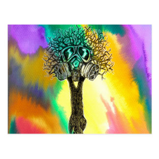 Gas Mask Tree Postcard