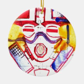 Gas Masked Soldier Round Ceramic Decoration