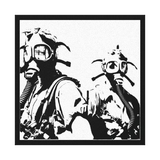 Gas Masks in Black Canvas Print