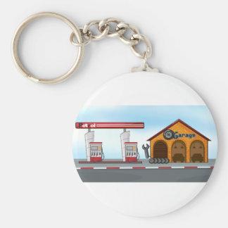 Gas station and garage basic round button key ring