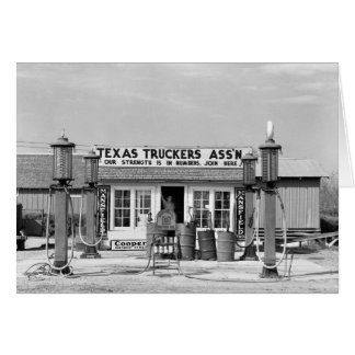 Gas station - Edcouch, Texas: 1939 Greeting Card