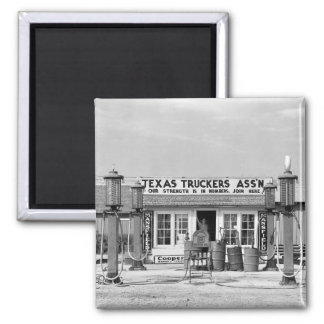Gas station - Edcouch, Texas: 1939 Square Magnet