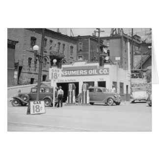 Gas Station in Montana, 1939 Card