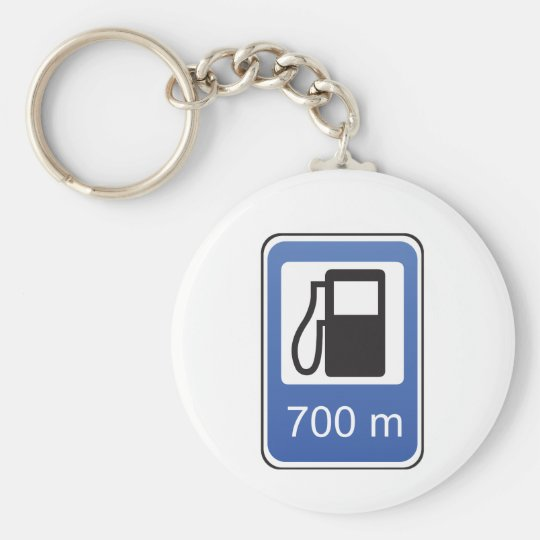 Gas Station Road Sign Keychain
