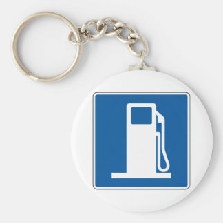 Gas Station Street Sign Basic Round Button Key Ring